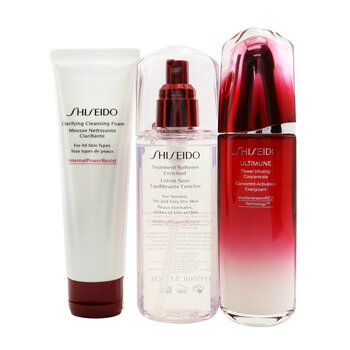 Ultimune Defend Daily Care Set: Ultimune Power Infusing Concentrate 100ml + Clarifying Cleansing Foam 125ml + Treatment Softener Enriched 150ml 3pcs, Shiseido  - Купить