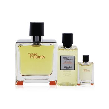Купить Terre D'Hermes Coffret: Pure Parfum Spray 75ml/2.53oz + Hair & Body Shower Gel 40ml/1.35oz + Pure Parfum Spray 5ml/0.17oz