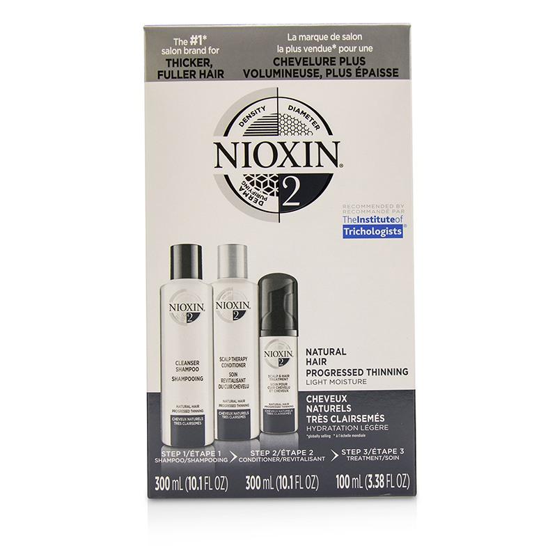 Nioxin 俪康丝 3D护理套装2 适合未经染烫  轻度稀疏发质 轻盈保湿  头皮疗理护发 3pcs