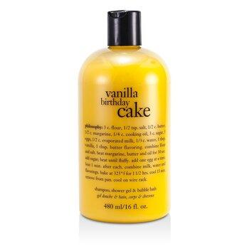 Vanilla Birthday Cake Shampoo, Shower Gel & Bubble Bath (480ml/16oz)