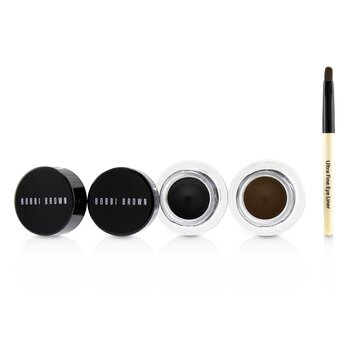 Long Wear Gel Eyeliner Duo: 2x Gel Eyeliner 3g (Black Ink, Sepia Ink) + Mini Ultra Fine Eye Liner Brush (3pcs)