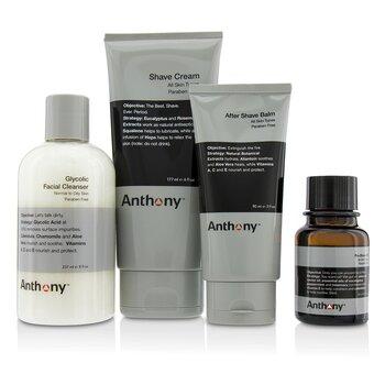 Anthony Logistics For Men Набор для Бритья: Очищающее Средство + Масло до Бритья + Крем для Бритья + Крем после Бритья + Сумка 4pcs+1bag