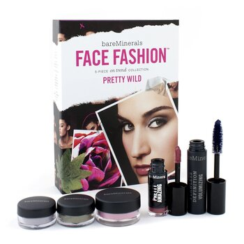 BareMinerals Face Fashion Collection (Blush + 2x Eye Color + Mascara + Lipcolor) - The Look Of Now Pretty Wild (5pcs)