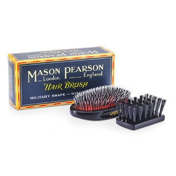 Boar Bristle & Nylon - Medium Junior Military Nylon & Bristle Hair Brush (Dark Ruby) (1pc)