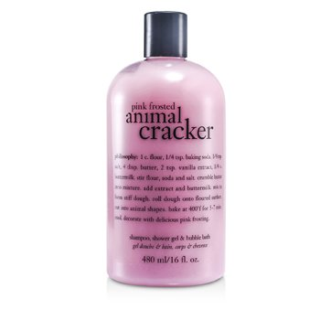 Pink Frosted Animal Cracker Shampoo, Shower Gel & Bubble Bath (480ml/16oz)