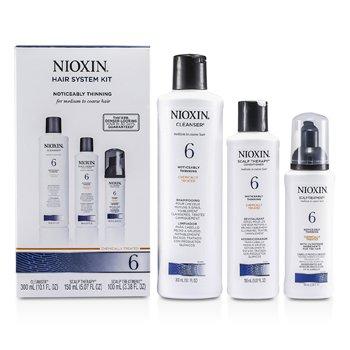 Nioxin Система 6 Набор для Средних и Жестких, Нормальных и Редеющих Волос: Очищающее Средство 300мл + Уход за Кожей Головы 150мл 3pcs