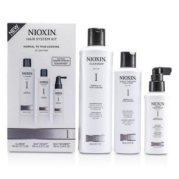 Nioxin Система 1 Базовый Набор для Тонких, Нормальных и Редеющих Волос: Очищающее Средство 300мл + Кондиционер для Кожи Головы 150мл + Средство для Кожи Головы 100мл 3pcs