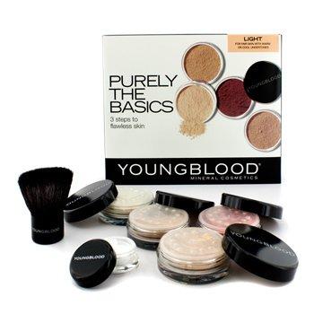 Youngblood Purely The Basics Набор - #Светлый (2х Основа, 1х Минеральные Румяна, 1х Пудра, 1х Кисть, 1х Минеральная Пудра) 6pcs