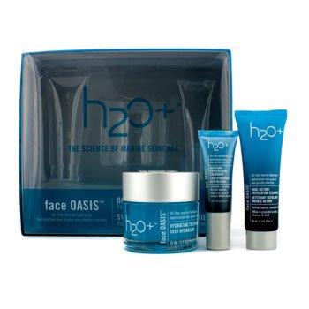 H2O+ Face Oasis Ежедневная Увлажняющая Система: Увлажняющее Средство 50мл + Отшелушивающее Очищающее Средство 30мл + Увлажняющее Восстанавливающее Средство для Глаз 7мл (для Нормальной/Жирной Кожи) 3pcs
