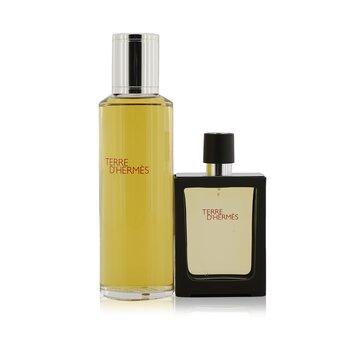 Terre D'Hermes Pure Parfum Refillable Spray 30ml/1oz + Refill 125ml/4.2oz (2pcs)
