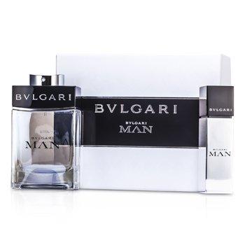 Bvlgari Man Coffret: EDT Spray 100ml/3.4oz + EDT Travel Spray 15ml/0.5oz 2pcs  men