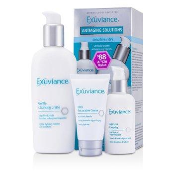 Exuviance Антивозрастной Набор (для Чувствительной/Сухой Кожи): Нежный Очищающий Крем + Антивозрастное Средство + Восстанавливающий Крем 3pcs