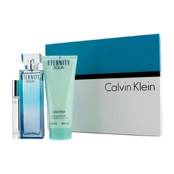 Calvin Klein Eternity Aqua Набор: Парфюмированная Вода Спрей 100мл/3.4унц + Лосьон для Тела 200мл/6.7унц + Роликовая Парфюмированная Вода 10мл/0.33унц 3pcs