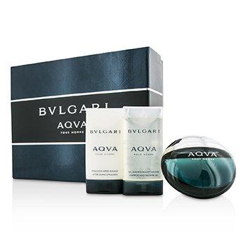 Bvlgari Aqva Pour Homme Набор: Туалетная Вода Спрей 50мл/1.7унц + Эмульсия после Бритья 75мл/2.5унц + Гель для Душа 75мл/2.5унц 3pcs