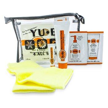 Yu-Be Восстанавливающий Набор для Пяток и Локтей: Увлажняющие Носки 1 пара + Крем 31мл и 3мл + Пенящееся Полирующее Средство 4мл + Лосьон для Тела 5мл 5pcs+1bag