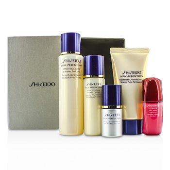 Shiseido Vital-Perfection Набор: Очищающая Пенка 50мл + Смягчающее Средство 75мл + Эмульсия 30мл + Ultimune Концентрат 10мл + Сыворотка 10мл 5pcs
