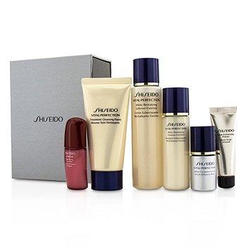 Shiseido Vital-Perfection Набор: Очищающая Пенка 50мл + Смягчающее Средство 75мл + Эмульсия 30мл + Ultimune Концентрат 10мл + Сыворотка 10мл + Праймер 10мл 6pcs
