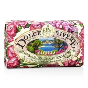 Dolce Vivere Fine Natural Soap - Sicilia - Bouganville, Marine Sea Salt & Papyrus Tree (250g/8.8oz)