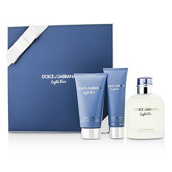 Dolce  Gabbana Homme Light Blue Набор: Туалетная Вода Спрей 125мл/4.2унц + Бальзам после Бритья 75мл/2.5унц + Гель для Душа 50мл/1.6унц 3pcs