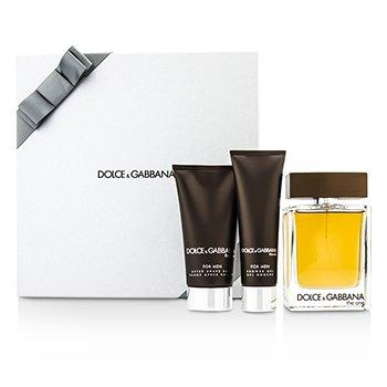 Dolce  Gabbana The One Набор: Туалетная Вода Спрей 100мл/3.3унц + Бальзам после Бритья 75мл/2.5унц + Гель для Душа 50мл/1.6унц (в Серебристой Коробке) 3pcs