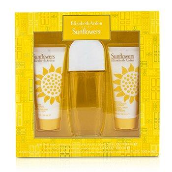 Elizabeth Arden Sunflowers Набор: Туалетная Вода Спрей 100мл/3.3унц + Лосьон для Тела 100мл/3.3унц + Увлажняющий Очищающий Крем 100мл/3.3унц 3pcs