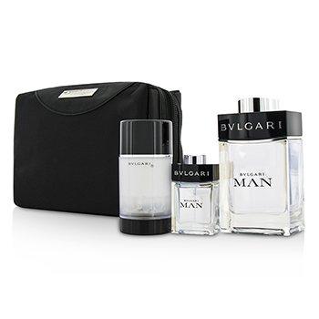Bvlgari Man Coffret: EDT Spray 100ml/3.4oz + Travel Spray 15ml/0.5oz + Deodorant Stick 75ml/2.7oz + Travel Pouch 3pcs+pouch  men