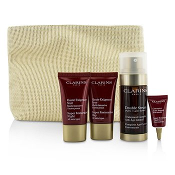 Skin-Replenishing Expert Set: Double Serum 30ml + Super Restorative Day Cream 15ml + Night Cream 15ml + Eye Concentrate 3ml + Bag (4pcs+1bag)