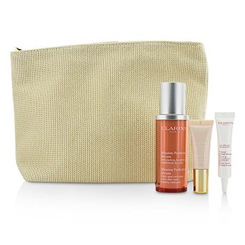 Clarins Skin-Perfecting Expert Набор: Mission Perfecting Сыворотка 30мл + UV Plus SPF 50 10мл + Instant Light База #01 10мл + Сумка 3pcs+1bag