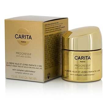 Progressif Anti-Age Global Perfect Cream Trio Of Gold For Eyes & Lips (15ml/0.47oz)