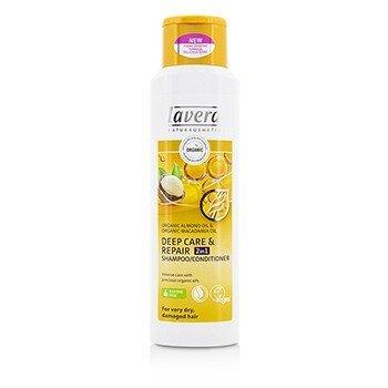 Lavera Organic Almond Oil  Organic Macadamia Oil Шампунь/Кондиционер 2 в 1 для Глубокого Восстановления (для Очень Сухих, Поврежденных Волос) 250ml/8.3oz
