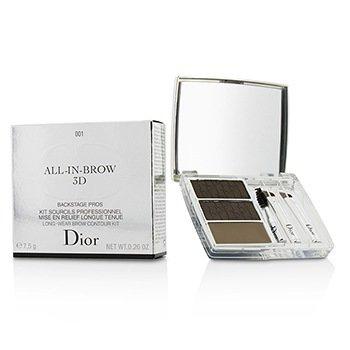 Christian Dior All In Brow 3D Набор для Бровей (2x Пудра для Бровей, 1x Воск для Бровей, 3x Мини Аппликатор) - # 001 Brown 7.5g/0.26oz