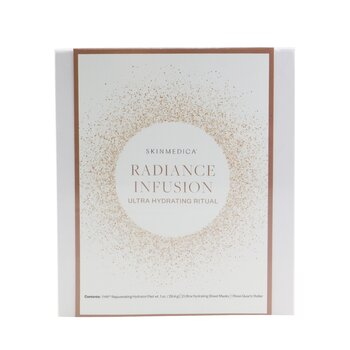 Radiance Infusion Ultra Hydrating Ritual Set: HA Rejuvenating Hydrator 28.4g + Ultra Hydrating Sheet Mask 2pcs + Rose Quartz Roller (4pcs)