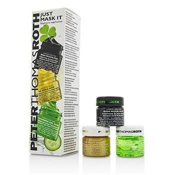 Peter Thomas Roth Just Mask It Набор: Irish Moor Mud Очищающая Черная Маска 15мл + 24K Gold Маска 15мл + Cucumber Гелевая Маска 15мл 3x15ml/0.5oz