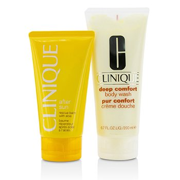 Summer In Clinique Set: Deep Comfort Body Wash 200ml/6.7oz + After Sun Rescue Balm 150ml/5oz (2pcs)