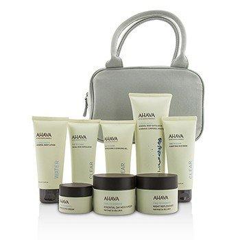 Ahava Essential Beauty Набор: Скраб для Тела + Лосьон для Тела + Очищающий Гель + Отшелушивающее Средство для Лица + Маска + Дневной Крем + Ночной Крем + Крем для Век + Сумка 8pcs+1bag
