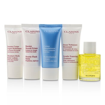 French Beauty Box: 1x Cleanser 30ml, 1x HydraQuench Cream 30ml, 1x Beauty Flash Balm 30ml, 1x Body Treatment Oil, 1x B/L (5pcs)