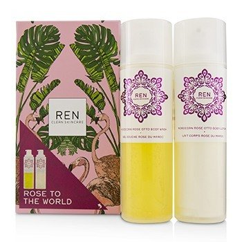 Rose To The World Moroccan Rose Otto Set: Body Wash 200ml + Body Lotion 200ml (2pcs)