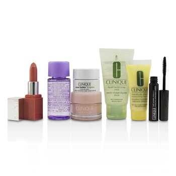 Travel Set: M/U Remover 30ml+Facial Soup 30ml+Moisture Surge 15ml+DDML 15ml+Moisture Cream 7ml+Mascara 2.5ml+Lip Color 2.3g (7pcs)