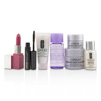 Travel Set:M/U Remover+Foaming Cleanser+Repairwear Laser Focus +Repairwear Cream SPF15+Repairwear Eye Cream+Mascara+Lip Color (7pcs)