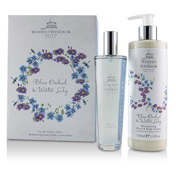 Woods Of Windsor Blue Orchid & Water Lily Coffret: EDT Spray 100ml/3.3oz + Moisturising Hand & Body Lotion 350ml/11.8oz 2pcs
