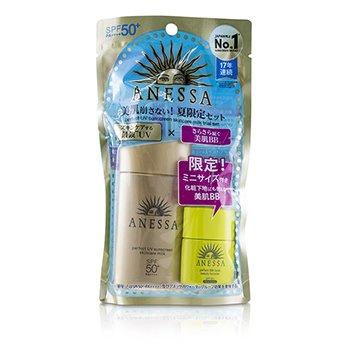 Anessa Trial Set: Perfect UV Sunscreen Skincare Milk SPF50 60ml + Perfect BB Base Beauty Booster 7.5ml (2pcs)