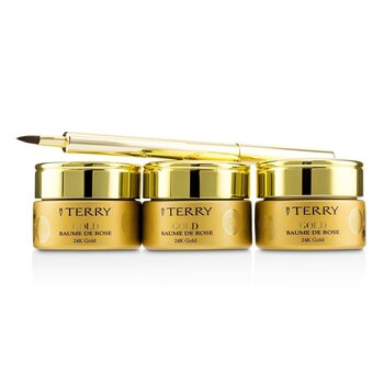 24K Gold Baume De Rose Trio Deluxe Lip Balm Jewels (1x White Gold 10g, 1x Gold 10g, 1x Rose Gold 10g) (3x10g/0.35oz)