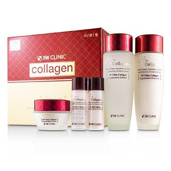 3W Clinic Collagen Skin Care Set: Softener 150ml + Emulsion 150ml + Cream 60ml + Softener 30ml + Emulsion 30ml (5pcs)
