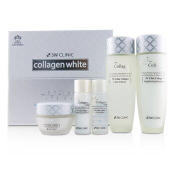 3W Clinic Collagen White Skin Care Set: Softener 150ml + Emulsion 150ml + Cream 60ml + Softener 30ml + Emulsion 30ml (5pcs)