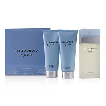 Light Blue Coffret:Eau De Toilette Spray 100ml/3.3oz + Body Cream 100ml/3.3oz + B & S Gel 100ml/3.3oz (3pcs)