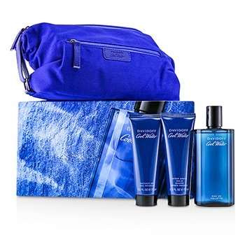 Coolwater Coffret: Eau De Toilette Spray 125ml/4.2oz + After Shave Balm 75ml/2.5oz + Shower Gel 75ml/2.5oz + Navy Toilet Bag (3pcs+Bag)