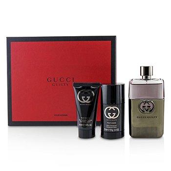 Gucci Guilty Pour Homme Coffret: EDT Spray 90ml + Deodorant Stick 75ml + After Shave Balm 50ml 3pcs 3oz