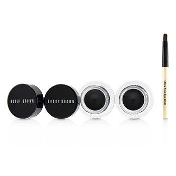 Long Wear Gel Eyeliner Duo: 2x Gel Eyeliner 3g (Black Ink) + Mini Ultra Fine Eye Liner Brush (3pcs)