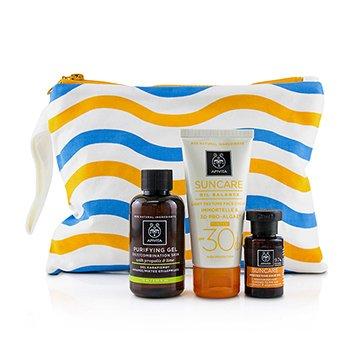 Suncare Set: Suncare Oil Balance Face Cream SPF30 - Tint 50ml + Purifying Gel 75ml + Protective Hair Oil (3pcs+1bag)