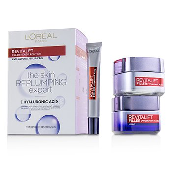 Revitalift Filler Renew Routine Set: Day Cream 50ml/1.7oz + Night Cream 50ml/1.7oz + Eye Cream 15 ml/0.5oz (3pcs)